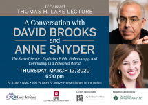 POSTPONED: New York Times Columnist David Brooks, Comment Magazine Editor Anne Snyder to speak in Indianapolis March 12
