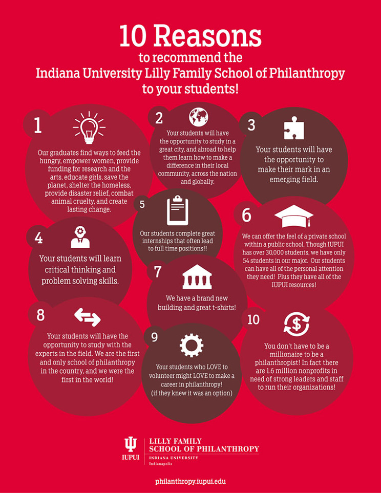 Top 10 Reasons to Recommend the IU Lilly Family School of Philanthropy