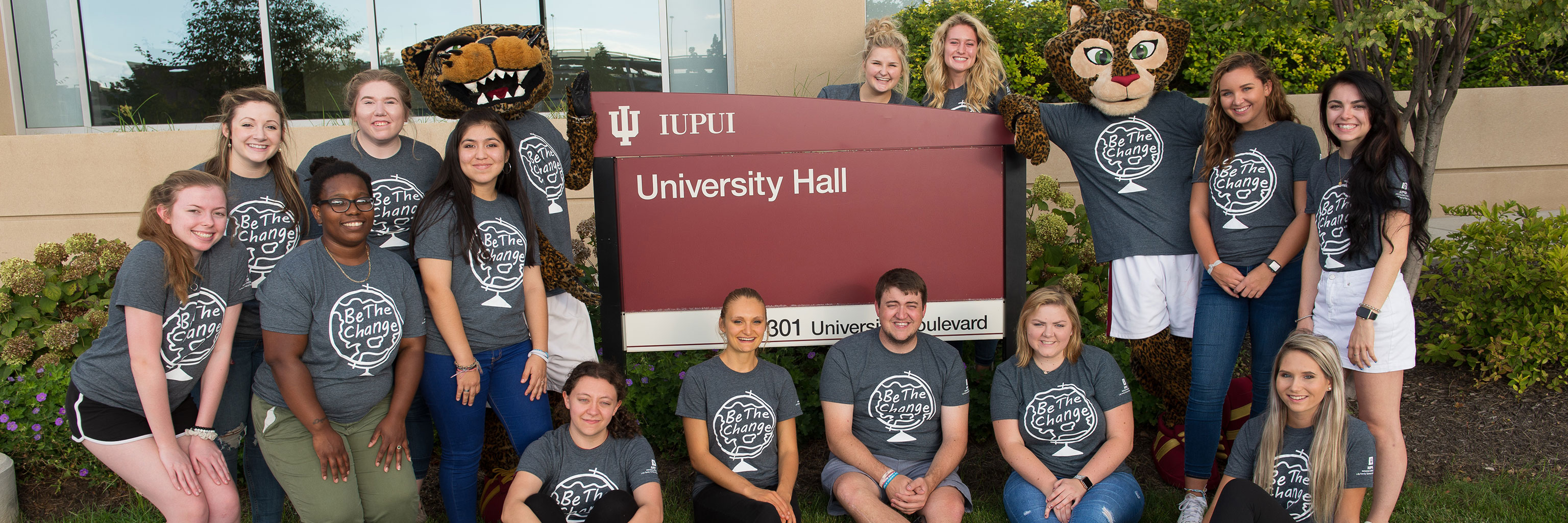 Students and IUPUI mascots at University Hall
