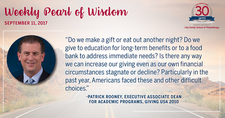 Indiana University Lilly Family School of Philanthropy 30th Anniversary: Pearls of Wisdom