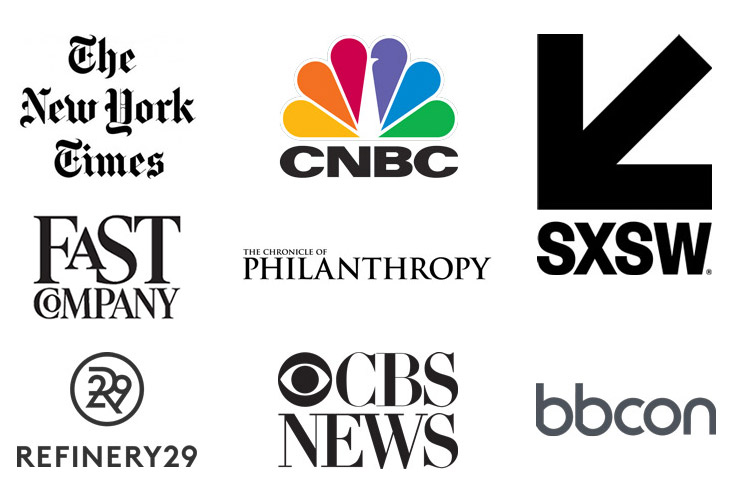 Media and conference logos-The New York Times, CNBC, South by Southwest, Fast Company, The Chronicle of Philanthropy, Refinery 29, CBS News, bbcon