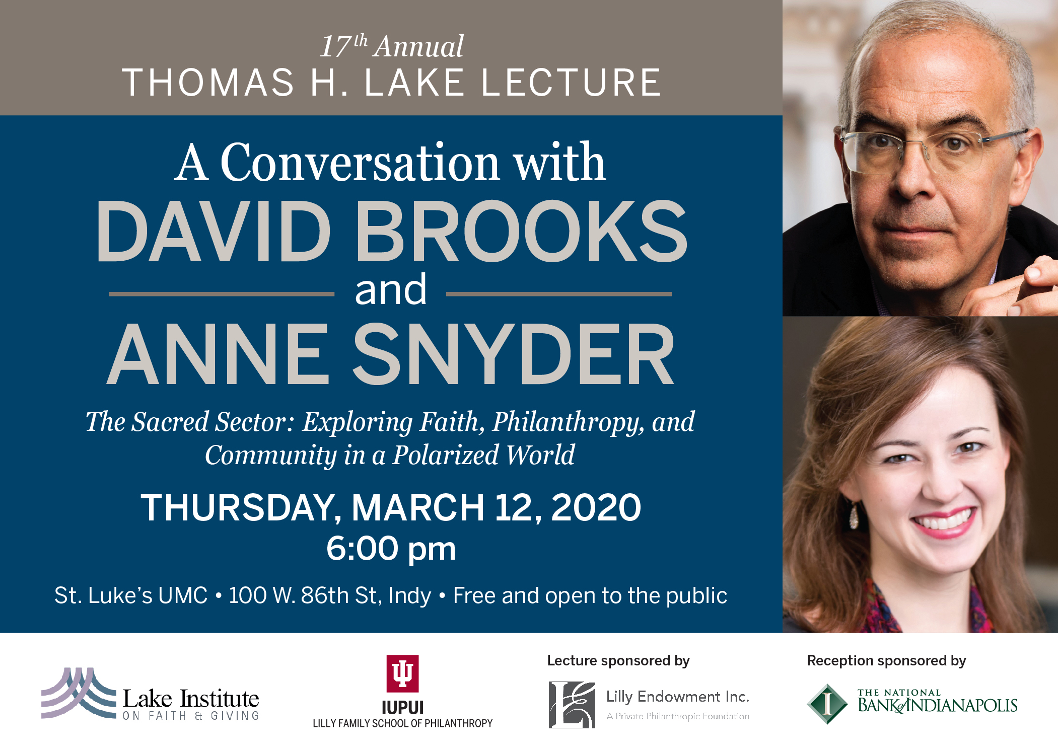 Lake Lecture 2020 with David Brooks and Anne Snyder