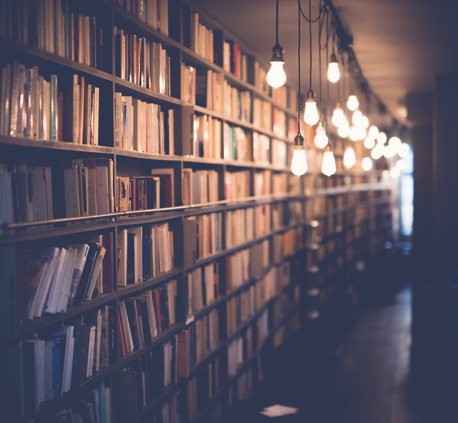 Library with lights