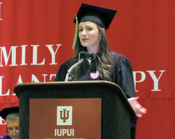 Erin Crowther speaking at commencement