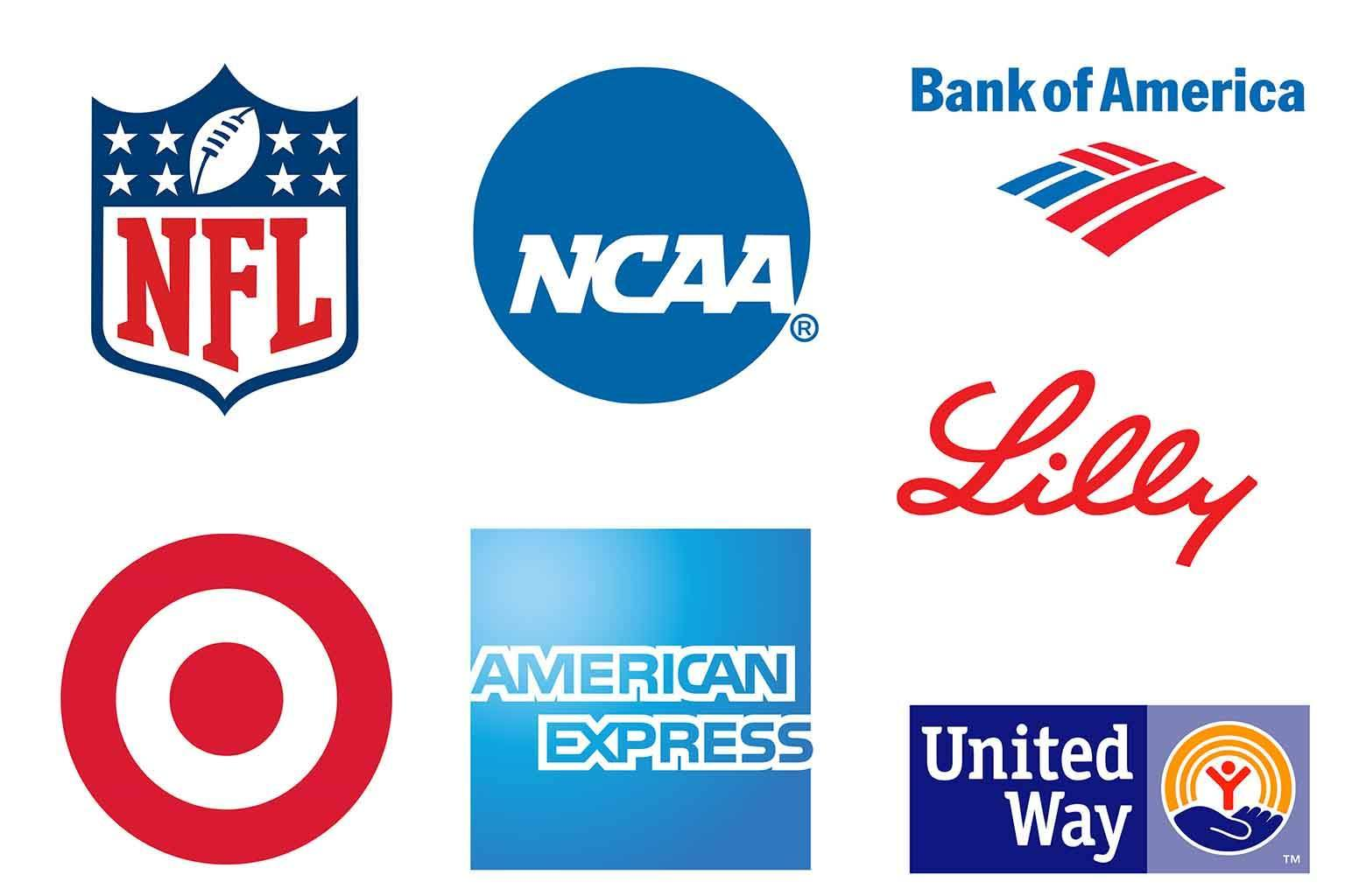 contract research logos American Express, Bank of America, National Collegiate Athletic Association, Eli Lilly and Company, Target, National Football League, United Way Worldwide
